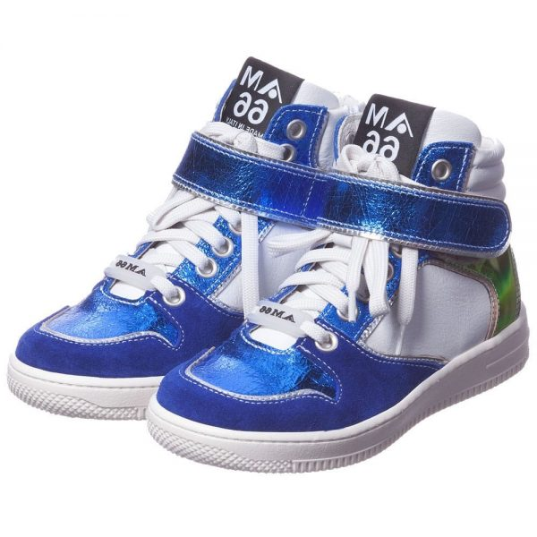 AM66 Blue Metallic Leather High-Top Trainers