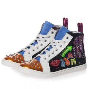 AM66 Girls Leather Studded High-Top Trainers