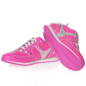 AM66 Girls Pink Leather Trainers 1