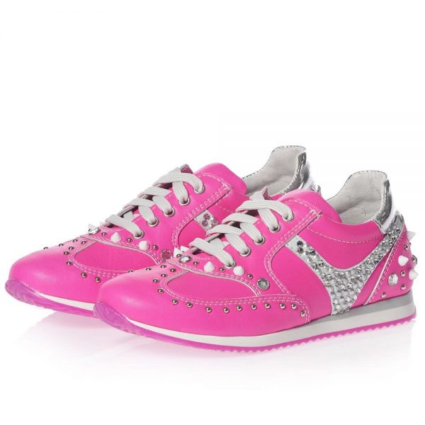 AM66 Girls Pink Leather Trainers