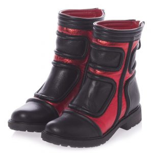 AM66 Red & Black Leather Boots