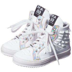 AM66 White Studded Leather High-Top Trainers