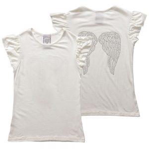 ANGEL'S FACE Girls Ivory Jersey Diamante T-Shirt