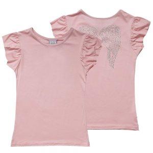 ANGEL'S FACE Girls Pink Jersey Diamante T-Shirt