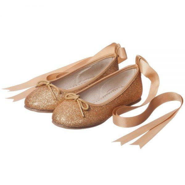 ANGEL'S FACE Gold Glitter Ballet Pumps
