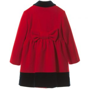 AQUASCUTUM JUNIOR Girls Red Wool & Cashmere Coat with Velvet Trim 1
