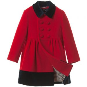 AQUASCUTUM JUNIOR Girls Red Wool & Cashmere Coat with Velvet Trim