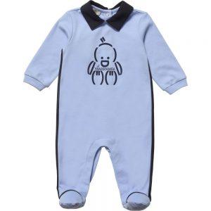 ARMANI BABY Baby Boys Blue Cotton Babygrow