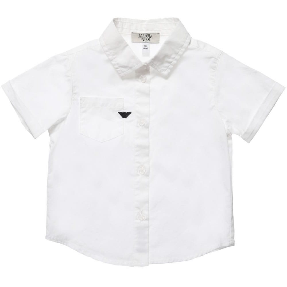 3ae9d20f3 ARMANI BABY Baby Boys White Short Sleeved Shirt - Children Boutique