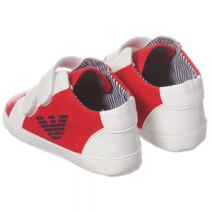 ARMANI BABY Red Canvas Unisex Pre-Walker Shoes 1