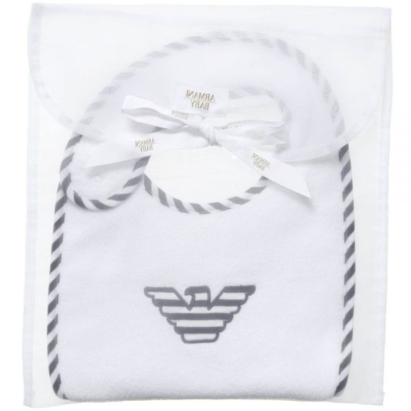 ARMANI BABY White & Navy Blue Cotton Bib 2
