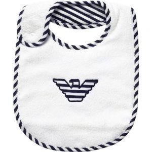 ARMANI BABY White & Navy Blue Cotton Bib