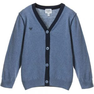 ARMANI JUNIOR Boys Blue Cotton Cardigan