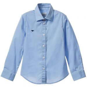 ARMANI JUNIOR Boys Classic Blue Cotton Shirt