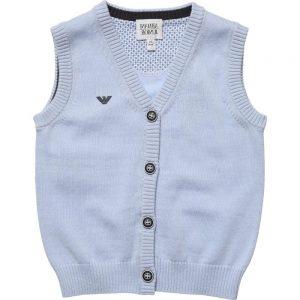 ARMANI JUNIOR Boys Pale Blue Knitted Slipover