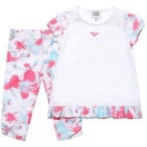 ARMANI JUNIOR Floral Cotton Long Top & Leggings Set