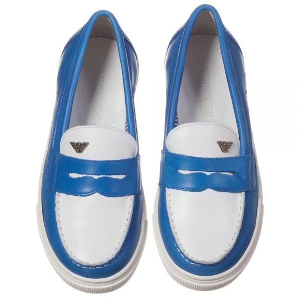 ARMANI TEEN Boys Blue Leather Loafers 2