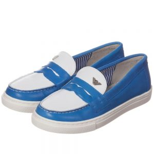 ARMANI TEEN Boys Blue Leather Loafers