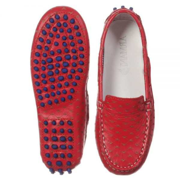 ARMANI TEEN Boys Red Logo Moccasins 1