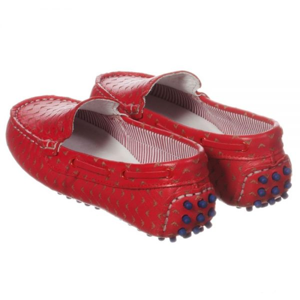 ARMANI TEEN Boys Red Logo Moccasins 3