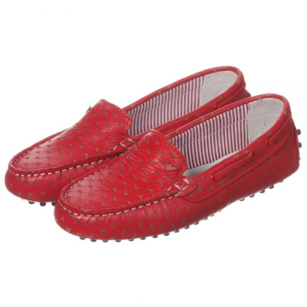 ARMANI TEEN Boys Red Logo Moccasins