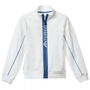 ARMANI TEEN Boys White Jersey Zip-Up Top