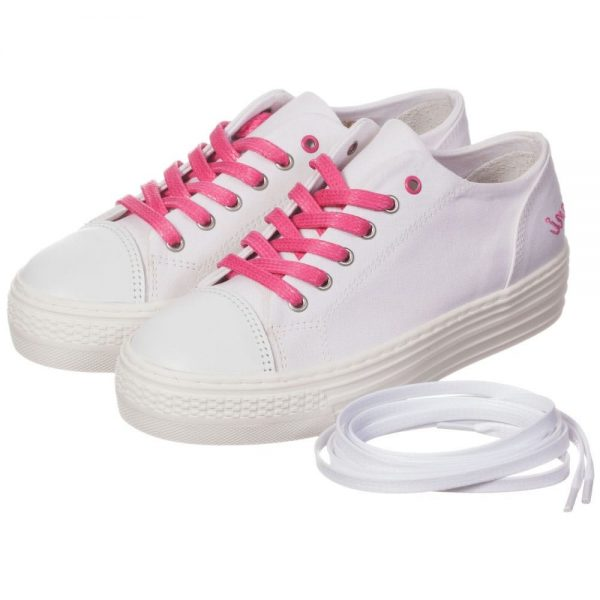 ARMANI TEEN Girls White Canvas Trainers