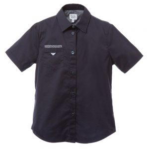 ARMANI TEEN Navy Blue Cotton Shirt with Pocket