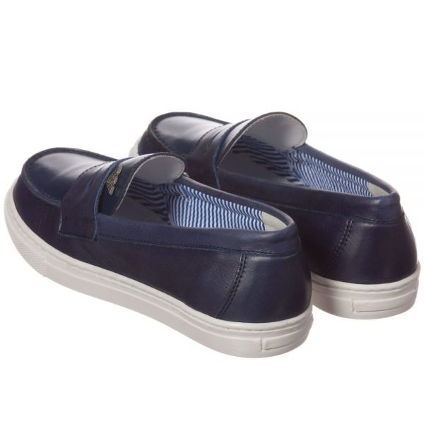 ARMANI TEEN Navy Blue Leather Loafers 1