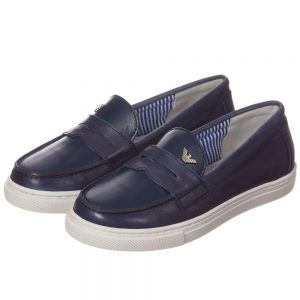 ARMANI TEEN Navy Blue Leather Loafers