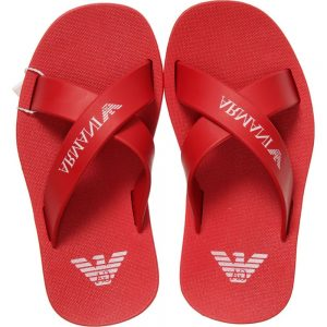 ARMANI TEEN Red Rubber Unisex Flip-Flops