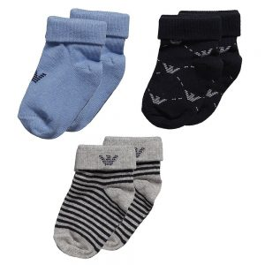 ARMANI BABY Baby Boys Blue Cotton Socks (Set of 3)