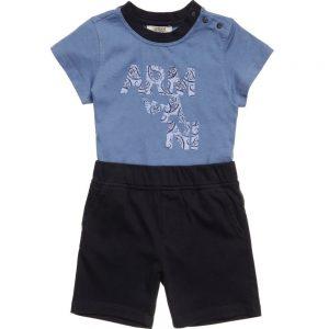 ARMANI-BABY-Baby-Boys-Blue-Logo-T-Shirt-Shorts-Set