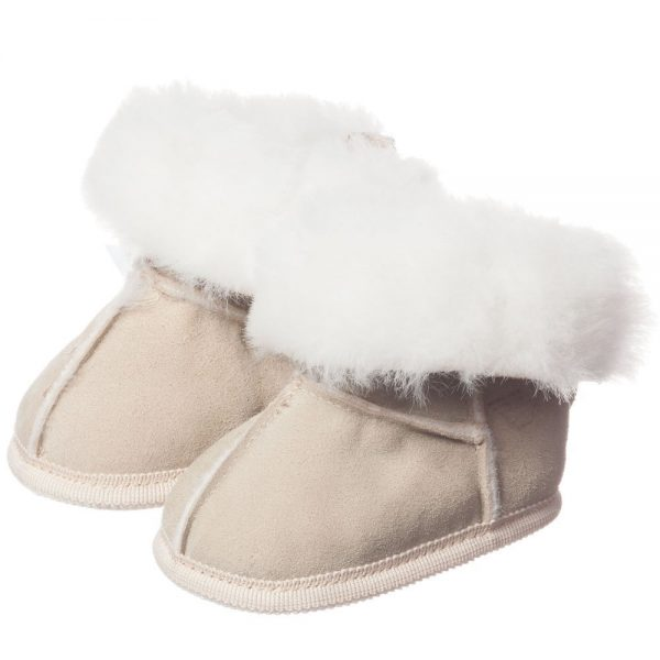 ARMANI BABY Beige Suede Fur Lined Bootees 1