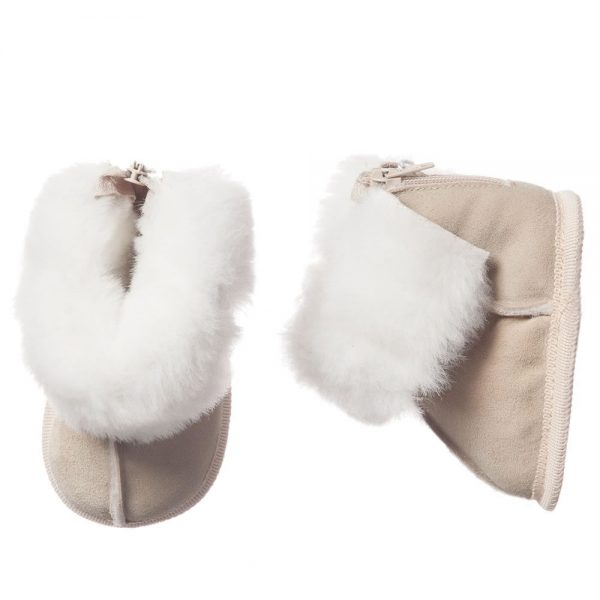 ARMANI BABY Beige Suede Fur Lined Bootees 2