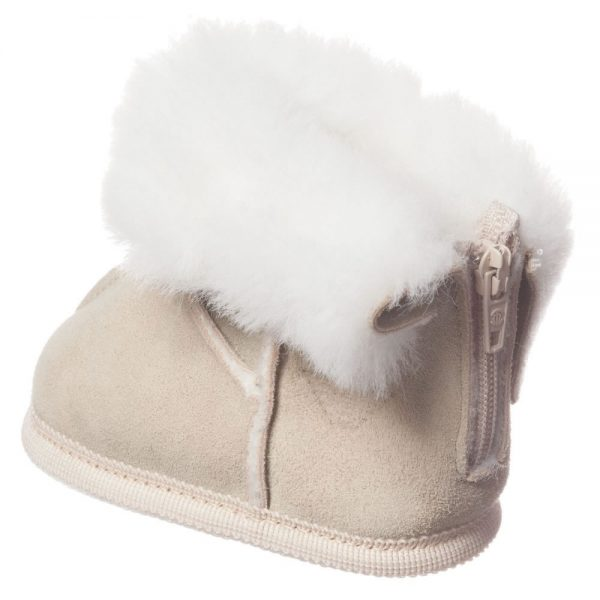 ARMANI BABY Beige Suede Fur Lined Bootees 3
