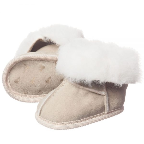ARMANI BABY Beige Suede Fur Lined Bootees