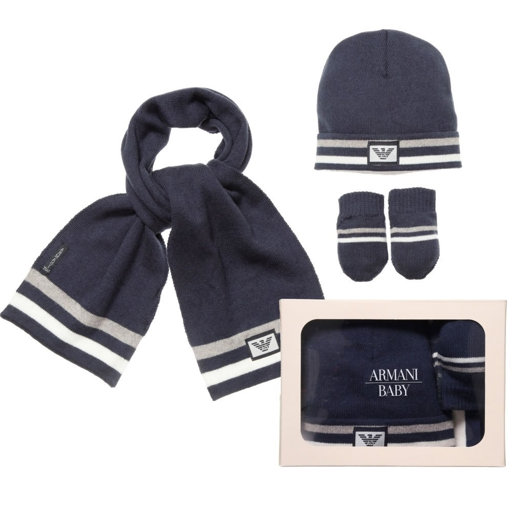 cae30faa034 ARMANI-BABY-Blue-Knitted-Baby-Hat-Scarf-and- ...