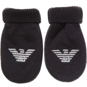 ARMANI BABY Blue Knitted Logo Mittens