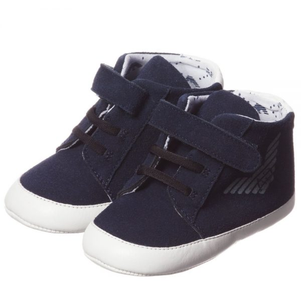 ARMANI BABY Blue Pre-Walker Trainers 1