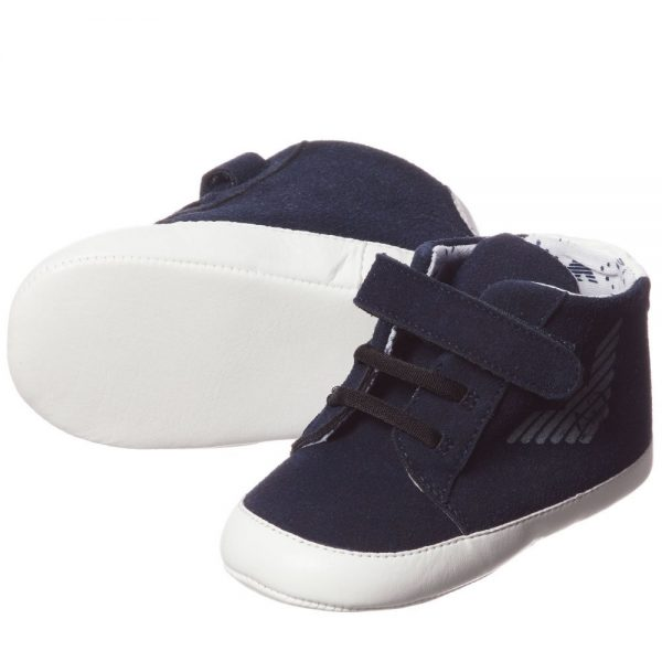 ARMANI BABY Blue Pre-Walker Trainers