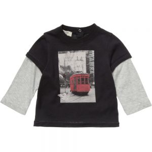ARMANI BABY Boys Layered Sleeve Tram Print T-Shirt