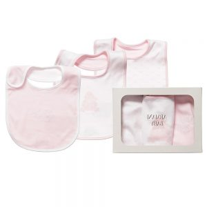 ARMANI BABY Girls Pink Cotton Jersey Bibs Gift Set (Pack of 3)