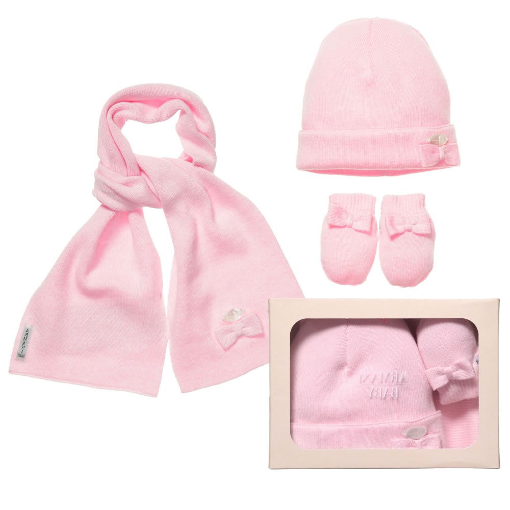 8ff0e7bbf05 Armani Baby S Pink Hat Scarf And Mittens Set Children Boutique
