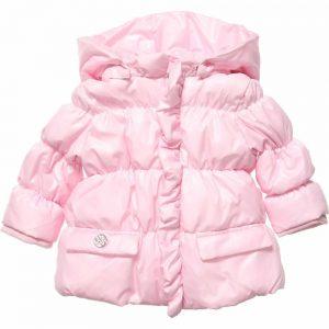 ARMANI BABY Girls Pink Padded Puffer Coat