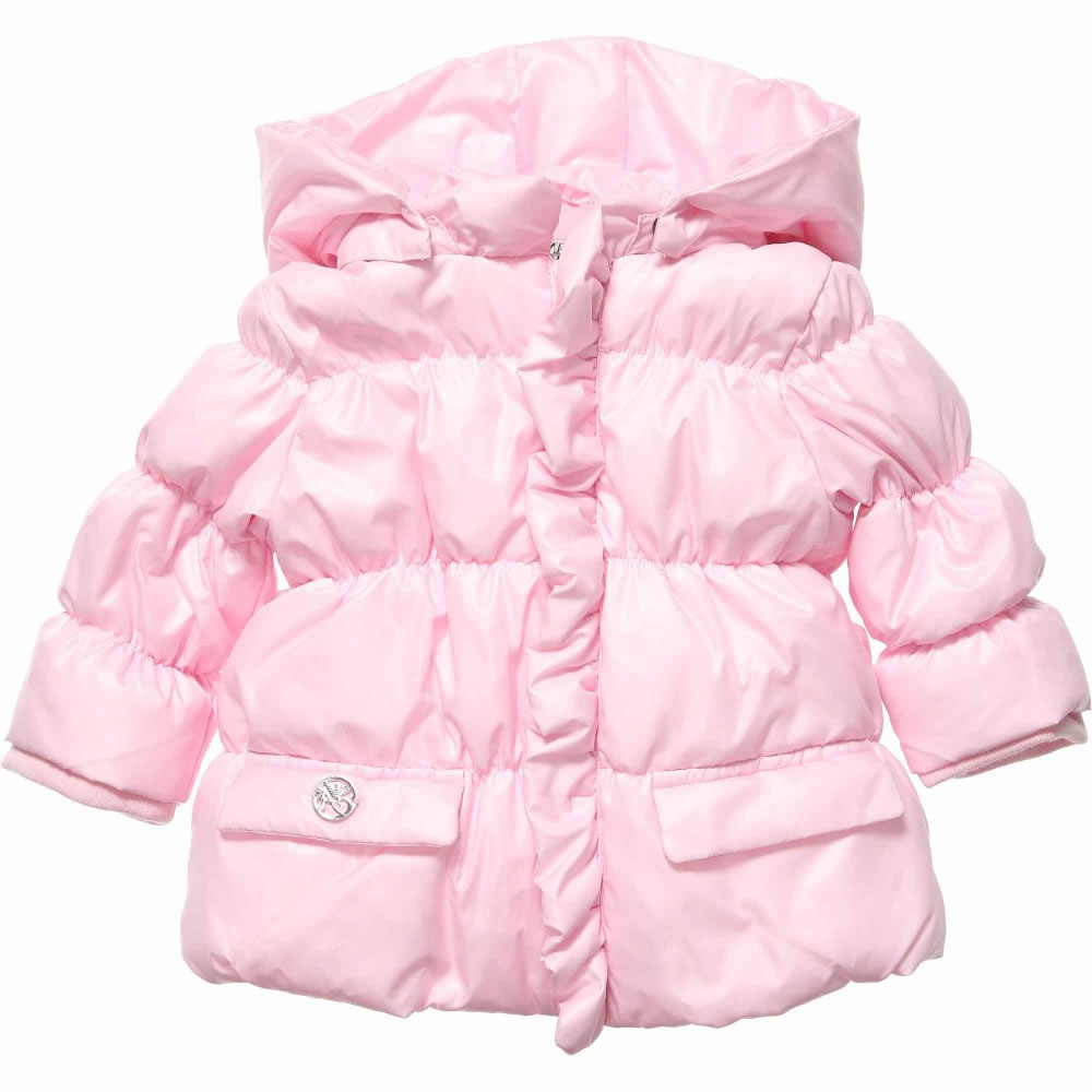 ARMANI BABY Girls Pink Padded Puffer Coat - Children Boutique b6a93ed4a0c8c
