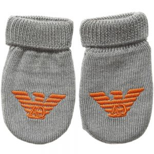 ARMANI BABY Grey Knitted Wool Baby Mittens
