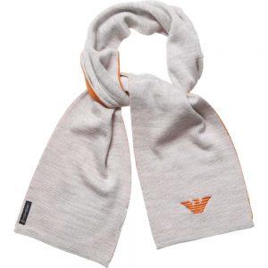 ARMANI BABY Grey & Orange Knitted Scarf (114cm)
