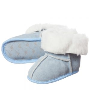ARMANI BABY Pale Blue Suede Fur Lined Bootees