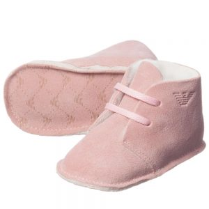 ARMANI BABY Pink Suede Bootees with Fleece Lining